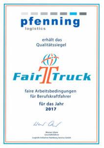 pfenning logistiics - FairTruck Qualitätssiegel_2017